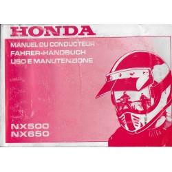 HONDA NX 500 / 650 de 1992 (manuel conducteur 02 / 1992)
