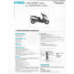 KYMCO Dink Street 125 ie / Downtowm 125 ie fiche technique