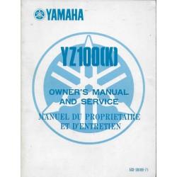 YAMAHA YZ 100 (K) de 1983 (manuel atelier 06 / 1982)