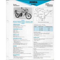 HONDA XL 600 V 1989-90 fiche technique E.T.A.I