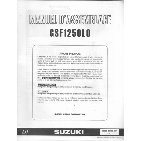 SUZUKI GSF 1250 L0 de 2010 (manuel assemblage 02 / 2010)