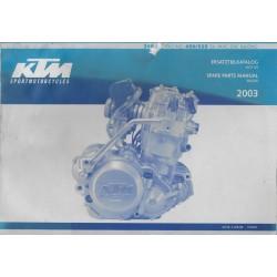 KTM 250, 450, 525 EXC Racing de 2003 (parts list moteur)