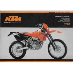 KTM 400 / 520 SX - MXC - EXC Racing 2002 (manuel utilisation)