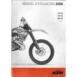 KTM 125, 144, 250 SX de 2008 (manuel utilisateur)