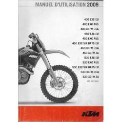 KTM 400, 450, 530 XC et dérivés de 2009 (manuel utilisateur)