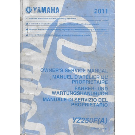 YAMAHA YZ 250 F (A) de 2011 type 17D (manuel atelier)