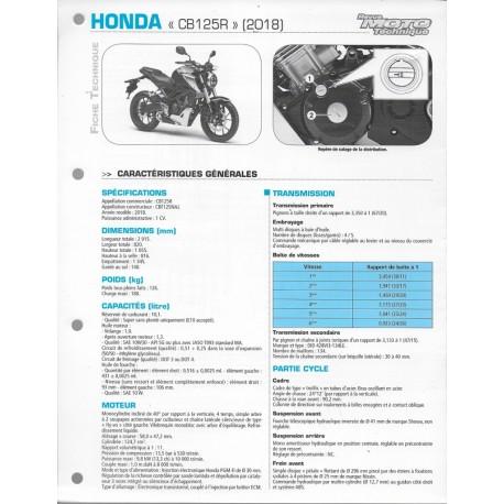 HONDA CB 125 R (2018) Fiche RMT