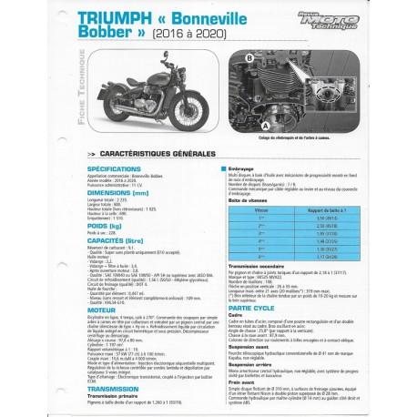 """TRIUMPH """"Bonneville Bobber"""" 1200cc (2016 à 2020) Fiche RMT"""
