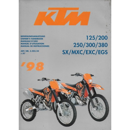 KTM 125, 200, 250. 300, 380 SX / MXC / EXC / EGS de 1998