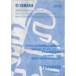 YAMAHA YZ 450 F (YD de 2013 type 33D (manuel atelier)