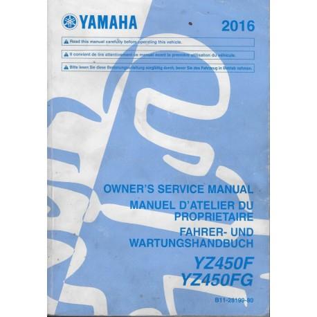 YAMAHA YZ 450 F / FG de 2016 type B11 (manuel atelier)