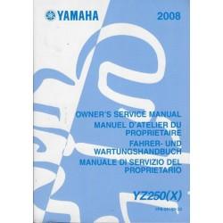 YAMAHA YZ 250 (X) de 2008 type 1P8 (manuel atelier)