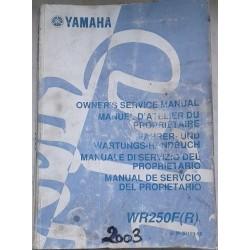 YAMAHA WR 250 F (R) de 2003 type 5UM (manuel atelier)