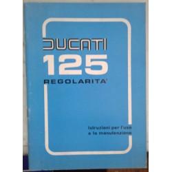 """DUCATI 125 """"Régolarita"""" manuel utilisateur en italien de 1975"""