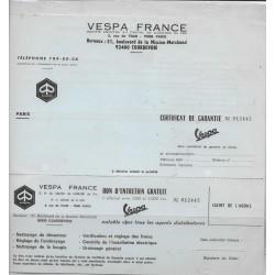 Certificat de garantie VESPA FRANCE
