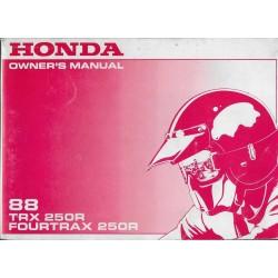 HONDA TRX 250 R Fourtrax 1988 (manuel conducteur 08 /87)