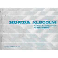 HONDA XL 600 LM de 1986 (manuel utilisateur 08 / 1985)