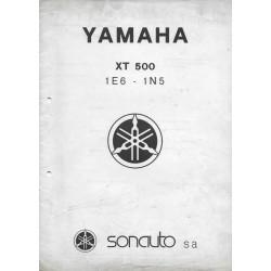 YAMAHA XT 500 types 1E6 et 1N5 (notes techniques 1977)