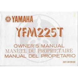 Manuel du propriétaire quad Yamaha YFM225T