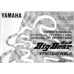 Manuel du propriétaire quad Yamaha Big Bear 4x4 YFM350FWB