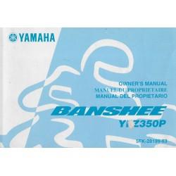 manuel du propriétaire quad YFZ350P Banshee 2001