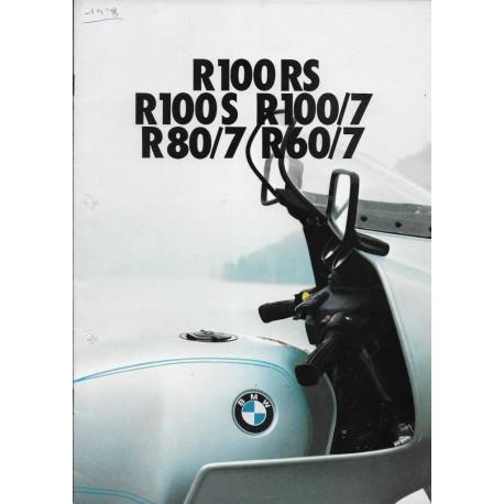 BMW série 7 (catalogue original gamme motos 1978)