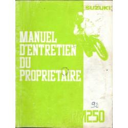 SUZUKI RM 250 (Manuel atelier 10 / 1990) modèle 1991
