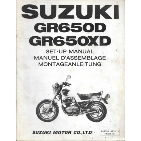 SUZUKI GR 650 D et XD de 1983 (manuel assemblage 03 / 1983)