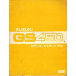 Manuel atelier additif SUZUKI GS 450 modèle 1980