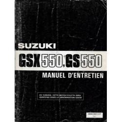 Manuel atelier SUZUKI GSX 550 E et ES modèle 1984