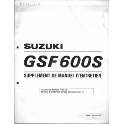 Manuel atelier additif SUZUKI GSF 600 ST de 1996