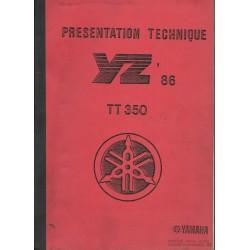 Bulletin technique YAMAHA YZ 1986 et TT 350 de 1986