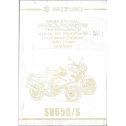SUZUKI SV 650 / S modèles Y et K1 de 1999