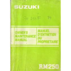SUZUKI RM 250 F modèle 1985 (09 / 1984)