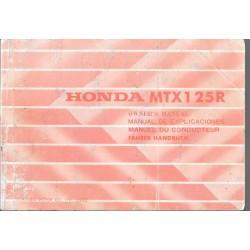 HONDA MTX 125 R de 1984 (manuel utilisateur 10 / 1983)