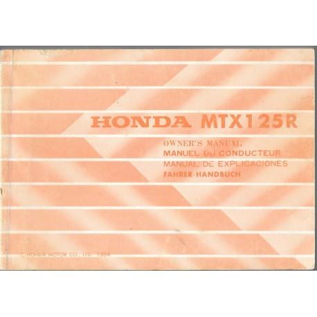 HONDA MTX 125 R de 1985 (manuel utilisateur 04 / 1985)