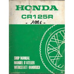 HONDA CR 125 R 1987 Additif au manuel de base décembre 1986