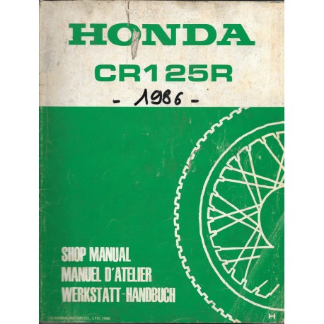 HONDA CR 125 R 1987 Additif au manuel de base décembre 1986