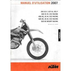 KTM 250. 400. 450. 525 EXC Racing de 2007