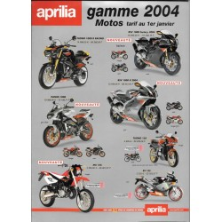 APRILIA Gamme Motos Tarif 2004