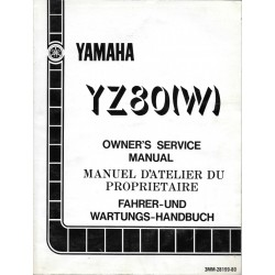 Manuel atelier YAMAHA YZ 80 W 1989