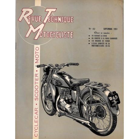 Revue Technique Motocycliste n° 42 de septembre 1951