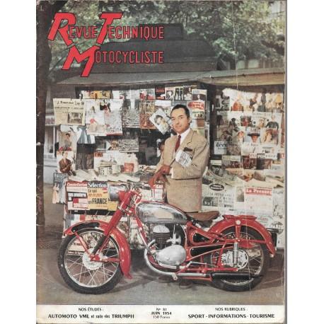 Revue Technique Motocycliste n° 81 de juin 1954
