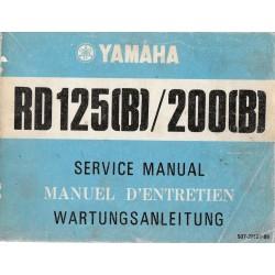YAMAHA RD 125 (B) / RD 200 (B) (manuel atelier 09 / 1974)