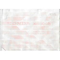 HONDA XR 600 R de 1986 (manuel utilisateur 12 / 1985)