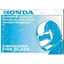 HONDA CBR 900 RR de 2001 (manuel utilisateur 06/2000)