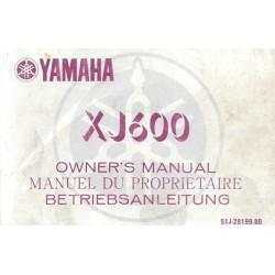 YAMAHA XJ 600 Type 51 J (Manuel propriétaire septembre 1985)