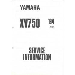 Manuel d'atelier Yamaha XV 750 de 1992 à 1995