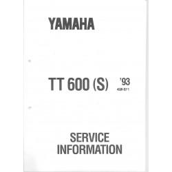 Manuel d'atelier Yamaha TT 600 (S) de 1993 type 4LW
