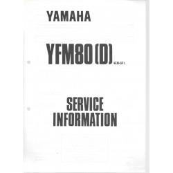 Manuel d'atelier Yamaha YFM 80 (D) de 1992 type 4EM
